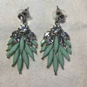 Jewelry - Gorgeous teal and diamond dangles